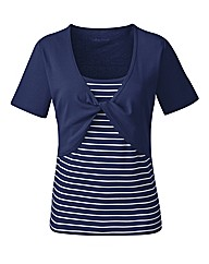 Navy Stripe Twist Front T-Shirt
