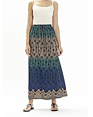 Cotton Pull on Print Maxi Skirt