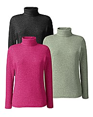 Pack of 3 Cotton Rollneck Tops