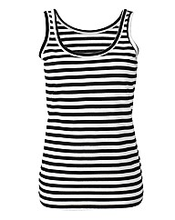Black Ivory Stripe Cotton Jersey Vest