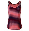 Navy Coral Stripe Cotton Jersey Vest