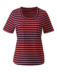 Navy Coral Striped Cotton Jersey T-Shirt