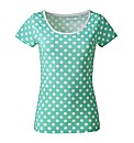 Spearmint Spot Print Cotton T-Shirt