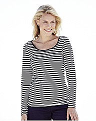 Striped Long Sleeve Cotton Jersey Top