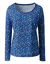 Navy Animal Print Long Sleeve Jersey Top