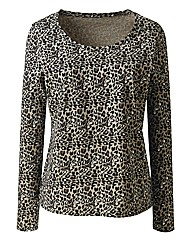 Animal Print Long Sleeve Jersey Top