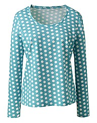 Spot Print Long Sleeve Cotton Jersey Top