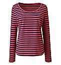 Navy Coral Stripe Long Sleeve Cotton Top
