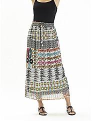 Print Beaded Maxi Skirt