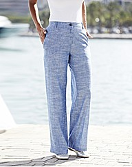Chambray Linen Mix Trousers 29in