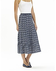 Linen Mix Print Skirt 33in