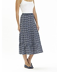 Linen Mix Print Skirt 30in