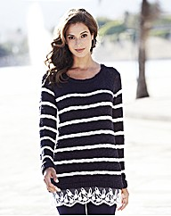 Stripe Knit 2 in 1 Jumper With Lace Hem