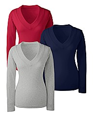 Pack 3 V Neck Tops
