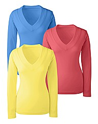 Pack 3 Cotton V Neck Tops