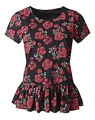 Rose Print Peplum Cotton T- Shirt