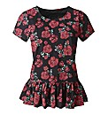 Rose Print Peplum Cotton T- Shirt