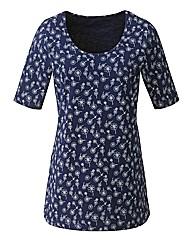 Daisy Print Half Sleeve Jersey Tunic