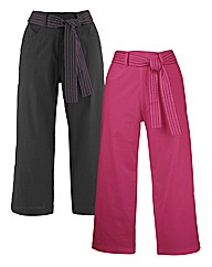 Pack Of 2 Belted Crop Trousers