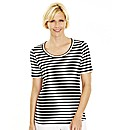 Black Ivory Stripe Cotton Jersey T-Shirt