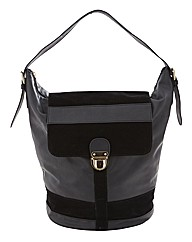 Suedette and PU Bucket Bag