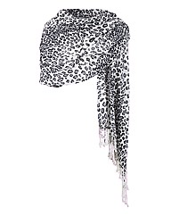 Animal Print Tassel Shawl