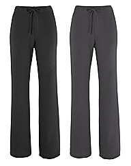 Pack Of 2 Straight Leg Trousers 29in