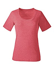 Plain Coral Marl Cotton T-Shirt