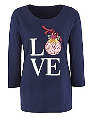 Love Christmas Print Jersey Tunic