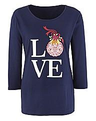 Love Christmas Print Jersey Tunic