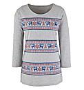 Snowflake Reindeer Print Jersey Tunic