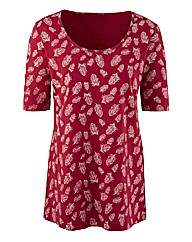 Feather Print Jersey Tunic