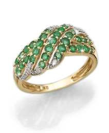 9ct Gold Emerald & Diamond Pave Ring