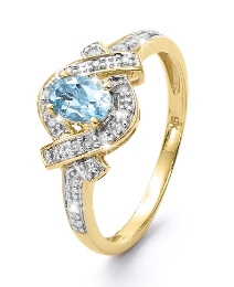 9 Carat Gold Aquamarine Diamond Set Ring