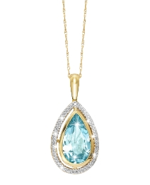 9ct Gold Blue Topaz &Diamond-Set Pendant