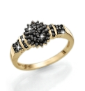 9 Carat Gold Black Diamond Cluster Ring