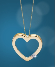9ct Gold Diamond Accent Heart Pendant