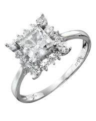 9 Carat White Gold Cubic Zirconia Ring