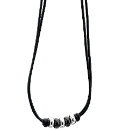 Fred Bennett Leather Beaded Necklace