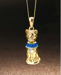 9ct Gold Enamelled Egyptian Cat Pendant