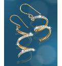 9 Carat Gold Crystal-Set Swirl Earrings