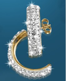 9ct Gold Crystal-Set Half-Hoop Earrings