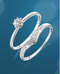 9 Carat White Gold Diamond Ring Set
