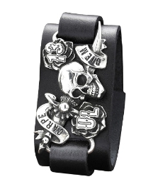 Gents 'Carpe Diem' Leather Cuff Bracelet