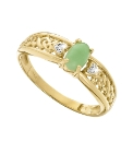 9 Carat Gold & Jade Diamond-Set Ring