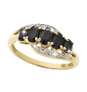 9ct Gold Sapphire & Diamond-Set Ring