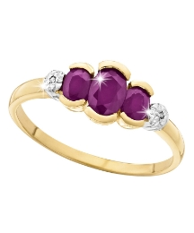 9 Carat Gold Ruby & Diamond-Set Ring