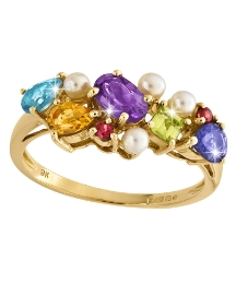 9 Carat Gold Multi-Gemstone & Pearl Ring
