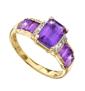 9 Carat Gold Amethyst & Diamond-Set Ring