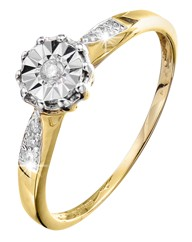 9 Carat Gold Diamond Illusion-Set Ring